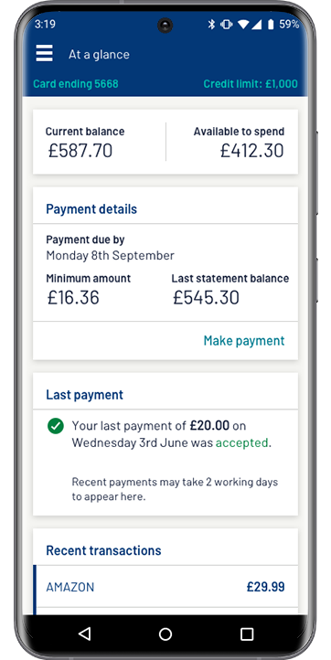 Image of a mobile phone showing the successful payment screen from the app