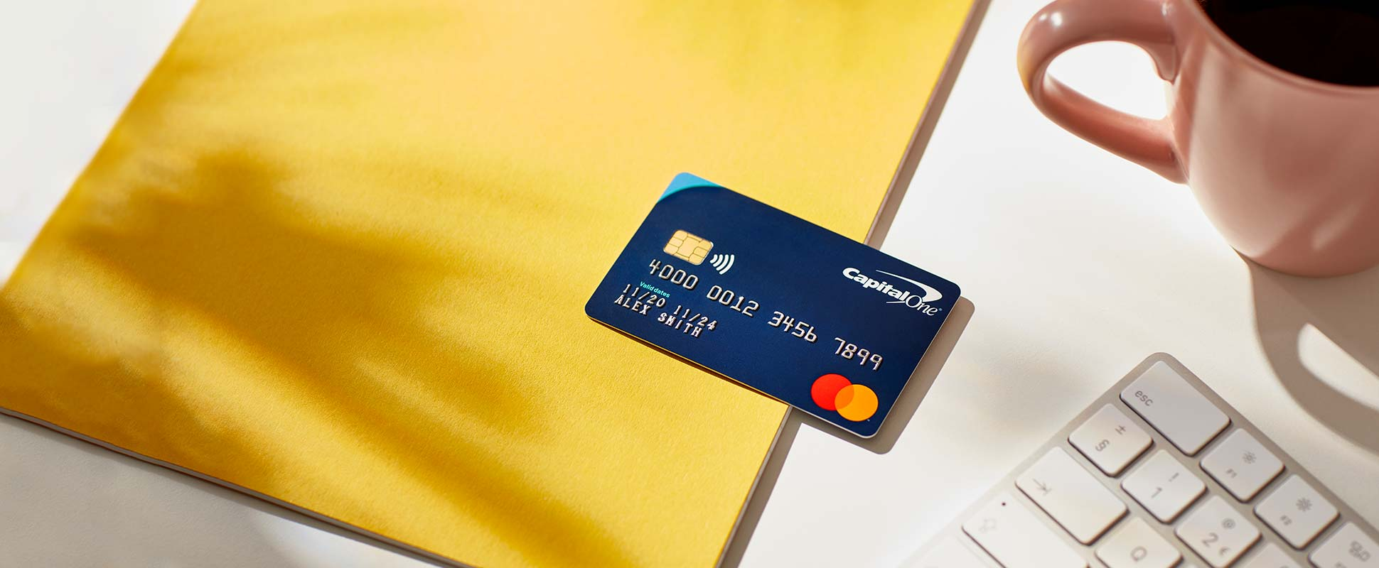capital one credit card on desk