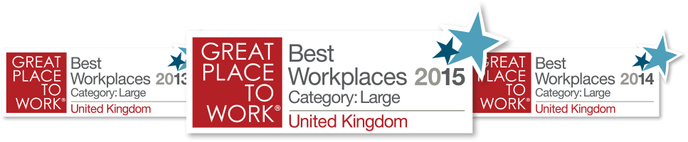 Best Workplaces 2015 Category: Large United Kingdom. Great Place to Work Award logo