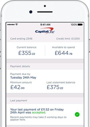 Capital One app shown on mobile screen